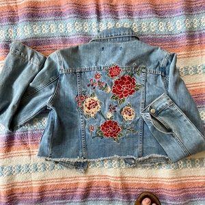 Embroidered Jean/Denim Cropped Jacket